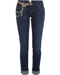 River Island Dark Wash Chain Trim Daisy Slim Jeans - Lyst