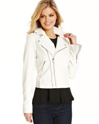 Guess Studded Fauxleather Motorcycle Jacket - Lyst