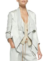 Donna Karan New York Draped-Front Cardigan W/ Patch Pocket - Lyst