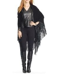 Lauren by Ralph Lauren - Merino Poncho With Faux Leather Fringe - Lyst