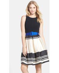 Eliza J Belted Stripe Stretch Fit & Flare Dress - Lyst