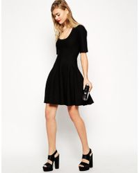 Asos Skater Dress In Structured Knit - Lyst