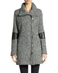 Calvin Klein Wool Blend Faux Leather Trimmed Asymmetrical Zip Coat - Lyst