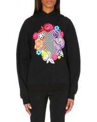 Christopher Kane Floral-print Cotton-jersey Hoody - Lyst