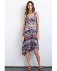 Velvet By Graham & Spencer Zach Cotton Nehru Print Asymmetric Dress multicolor - Lyst