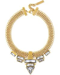 Vince Camuto Gold-tone Mesh Link Stone Drama Pendant Necklace - Lyst
