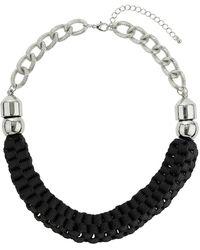 Topshop Black Woven Fabric Collar  Black - Lyst