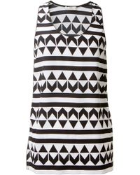 Edun Black and White Silk Geometric Printed Top - Lyst