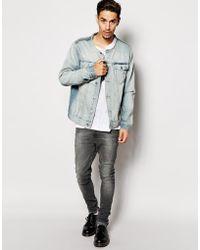 Cheap Monday Collarless Denim Jacket - Lyst