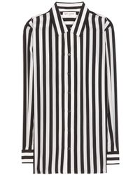 Saint Laurent Striped Silk Shirt - Lyst