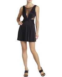 BCBGMAXAZRIA Lace Mesh Inset Ruched Dress - Lyst