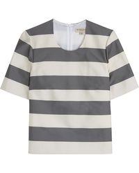 Burberry London Silk-Cotton Striped Top - Lyst