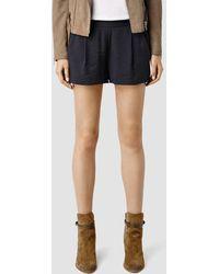 AllSaints Obel Shorts blue - Lyst