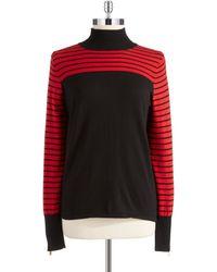 Anne Klein Black Striped Pullover - Lyst