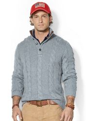 Polo Ralph Lauren Cable Knit Tussah Silk Sweater - Lyst