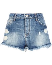 River Island Mid Wash High Waisted Ripped Denim Shorts - Lyst