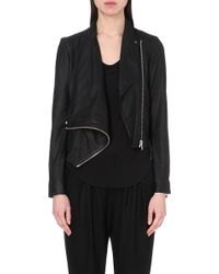 Helmut Lang Asymmetric Drape Leather Jacket - For Women - Lyst