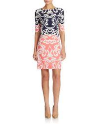 Eliza J Elbow Sleeve Colorblock Shift Dress - Lyst