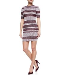 T By Alexander Wang Striped Ribbed Pencil Skirt - Lyst