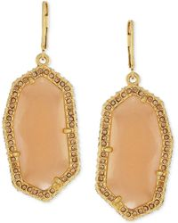 Vince Camuto - Gold-plated Peach Stone Pavé Drop Earrings - Lyst