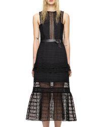 Self-Portrait   Frilled Column Dress Black   Lyst
