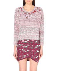 Maje Jewelled Neckline Knitted Jumper - For Women - Lyst