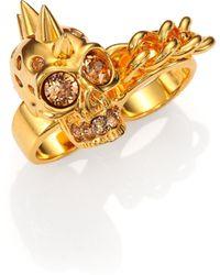 Alexander McQueen Punk Skull & Chain Two-Finger Ring - Lyst