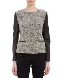 Barneys New York Bouclé Leather Jacket - Lyst