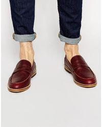 ASOS - Loafers In Burgundy Leather With Natural Sole - Lyst