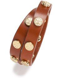 Tory Burch Double-Wrap Logo Stud Bracelet - Lyst