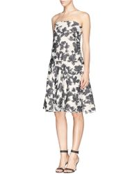 Thakoon Floral Embroidery Gauze Strapless Dress - Lyst