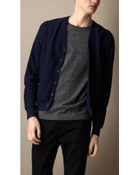 Burberry Suede Patch Wool Cardigan - Lyst