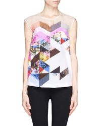 Preen By Thornton Bregazzi Yumi Contrast Texture Floral Collage Print Sleeveless Blouse - Lyst