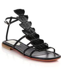 Fendi Ava Crocodile & Leather Flat Sandals black - Lyst