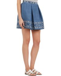 Sea Embroidered Denim Skirt - Lyst
