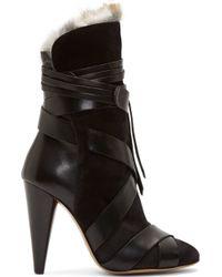 Isabel Marant Black Fur_lined Wrap Neta Boots - Lyst