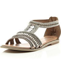 River Island Pink Bead And Gem Sandals - Lyst