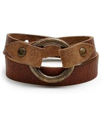 Frye - 'harness' Leather Wrap Bracelet - Caramel - Lyst