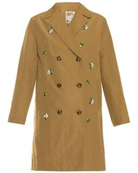 MUVEIL - Floral-Embellished Trench Coat - Lyst