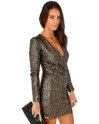 Missguided Felicite Premium Sequin Cross Over Dress In Antique Gold - Lyst