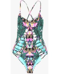 Mara Hoffman Lattice Maillot Suit blue - Lyst