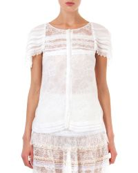 Nina Ricci Lace Top with Pearly Trim - Lyst