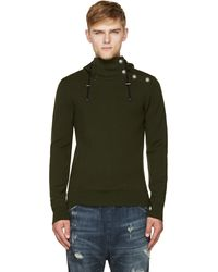 Balmain Green Merino Knit and Buttoned Hoodie - Lyst