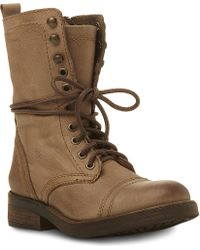 Steve Madden Monch Leather Lace Up Combat Boots Brown - Lyst