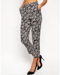 Asos Relaxed Pant In Mono Print floral - Lyst