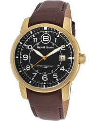 Ben Minkoff - West Side Brown Genuine Leather Black Dial Gold-tone Ss - Lyst