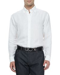 Ferragamo Cotton Buttoncollar Sport Shirt White - Lyst