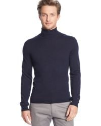Calvin Klein Solid Tipped Merino Wool Turtleneck Sweater - Lyst