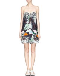 MSGM Mix Print Piqué Bustier Dress - Lyst