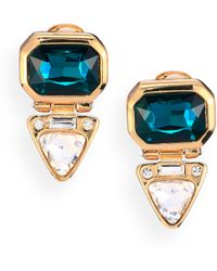 Kenneth Jay Lane Triangle Deco Drop Clip-On Earrings - Lyst